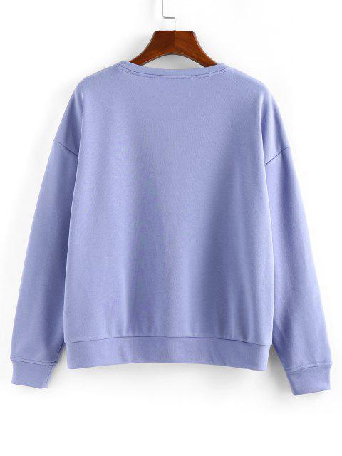 women's ZAFUL Chinoiserie Sun and Moon Print Sweatshirt - CORNFLOWER BLUE M Mobile