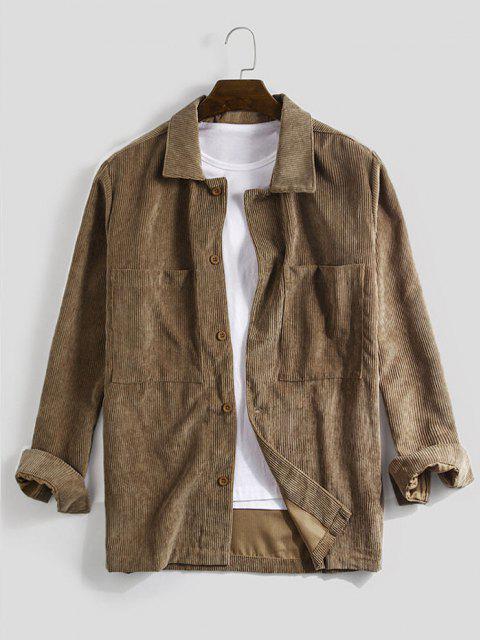 chic Long Sleeve Double Pockets Corduroy Shirt - COFFEE 2XL Mobile