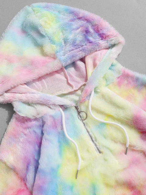 best Tie Dye Faux Fur Ring Half Zipper Hoodie - MULTI S Mobile