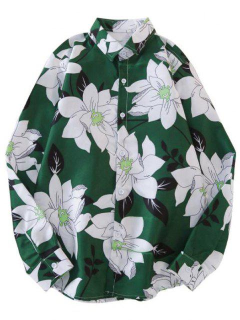 trendy Long Sleeve Curved Hem Flower Print Shirt - MULTI-A M Mobile
