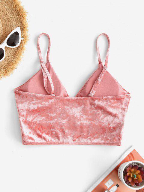 ZAFUL Crushed Velvet Surplice Bikini Top - وردي فاتح S Mobile