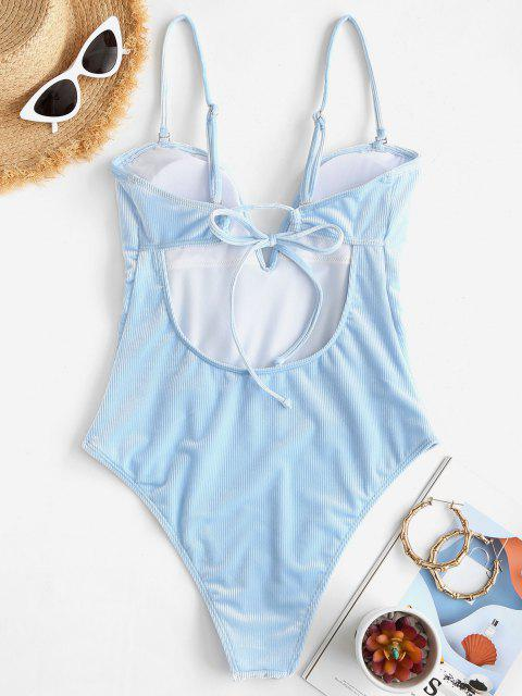 chic ZAFUL Ribbed Velvet V Wired One-piece Swimsuit - LIGHT BLUE XL Mobile
