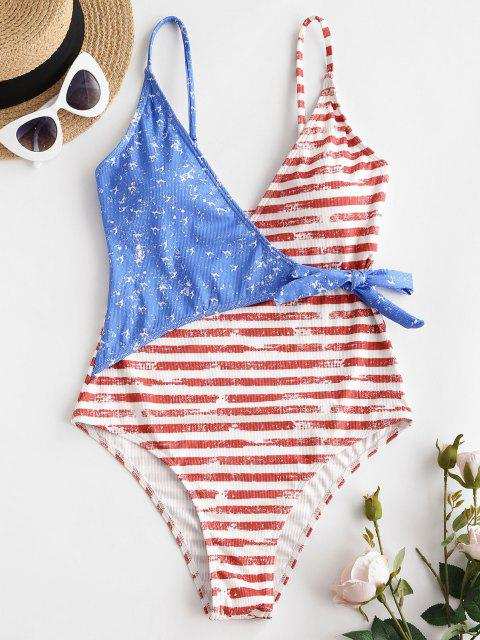 ZAFUL Striped Knotted Plunge Surplice One-piece Swimsuit - أحمر M Mobile