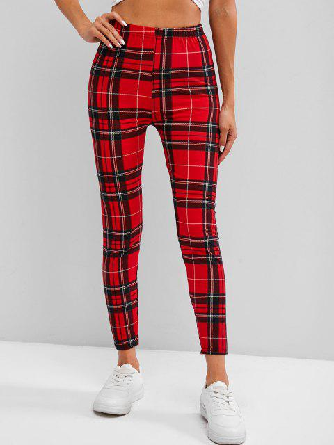 best Plaid High Waisted Skinny Leggings - RED ONE SIZE Mobile