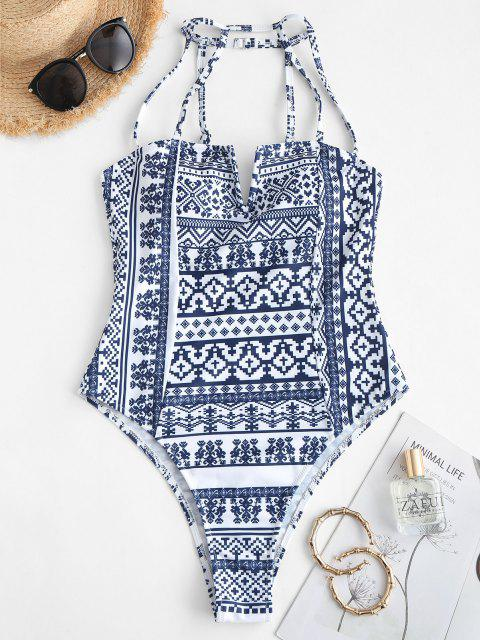 ZAFUL Ethnic V Wired Strappy One-piece Swimsuit - ازرق غامق S Mobile