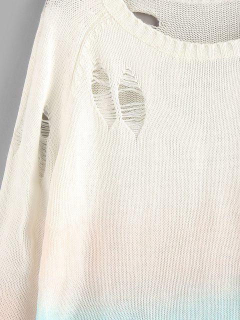 Maglione Strappato di Tie-Dye con Maniche Raglan di ZAFUL - Multi Colori M Mobile