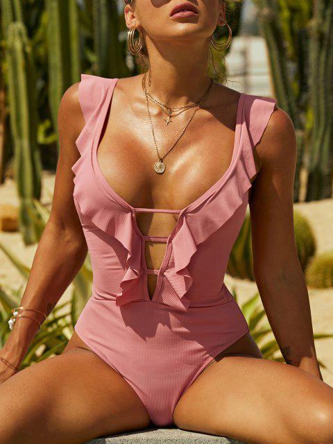 women's ZAFUL Ribbed Lace-up Ruffle Plunge One-piece Swimsuit - LIGHT PINK S Mobile