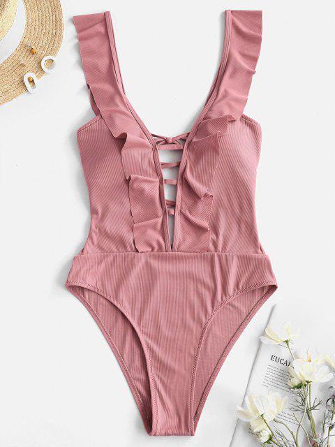 ZAFUL Ribbed Lace-up Ruffle Plunge One-piece Swimsuit - وردي فاتح M Mobile