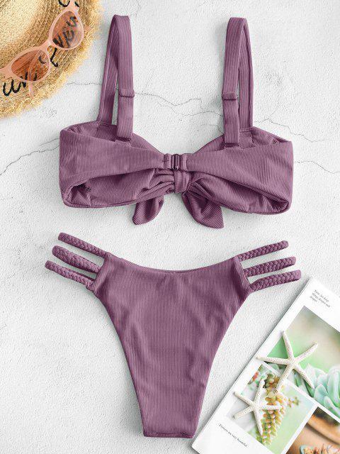 ZAFUL Maillot de Bain Bikini Tressé Côtelé à Bretelle Nouée - Concorde M Mobile