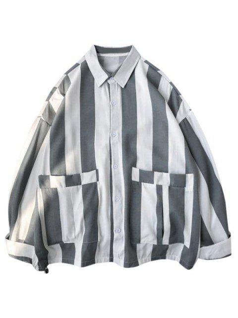 ダブルポケットシャツを印刷、ストライプ - 白 XS Mobile