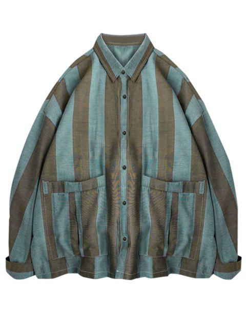 sale Striped Print Double Pockets Shirt - LIGHT BLUE M Mobile