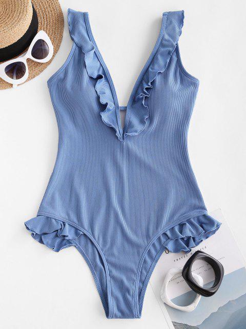 women ZAFUL Plunge Ribbed Ruffle One-piece Swimsuit - LIGHT BLUE M Mobile