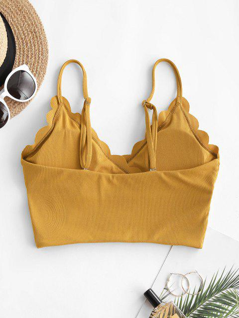 ZAFUL Haut de Bikini Festonné Côtelé Superposé - Deep Yellow 2XL Mobile
