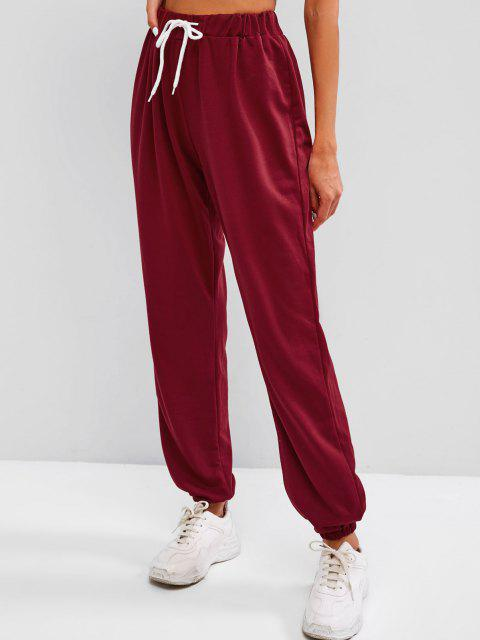 hot Drawstring BABY GIRL Graphic Jogger Sweatpants - DEEP RED L Mobile