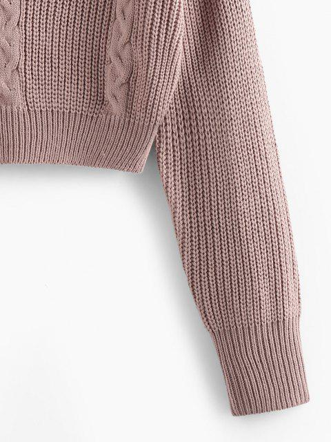 sale ZAFUL Criss Cross Cable Knit Crop Sweater - LIGHT PINK S Mobile
