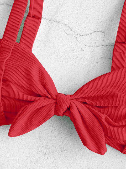 fashion ZAFUL Ribbed Ruched Tied Ladder Cut Braided Straps Bikini Swimwear - RED L Mobile