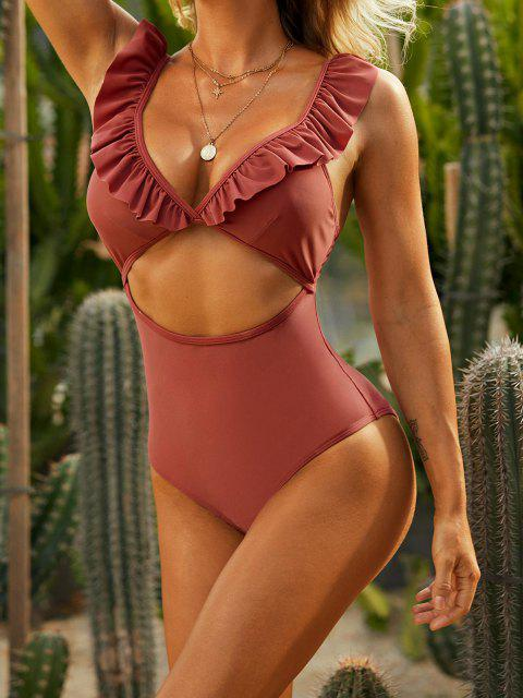 online ZAFUL Ruffle Cut Out Plunging One-piece Swimsuit - DEEP RED S Mobile