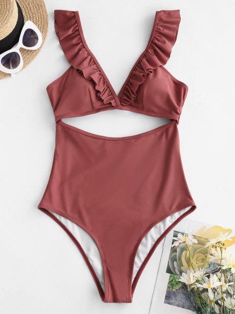 hot ZAFUL Ruffle Cut Out Plunging One-piece Swimsuit - DEEP RED L Mobile