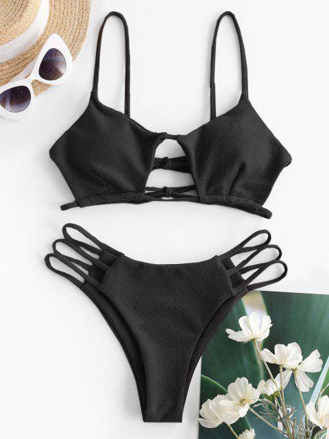 Costume da Bagno Bikini con Taglio Trapezoidale di ZAFUL - Nero S Mobile