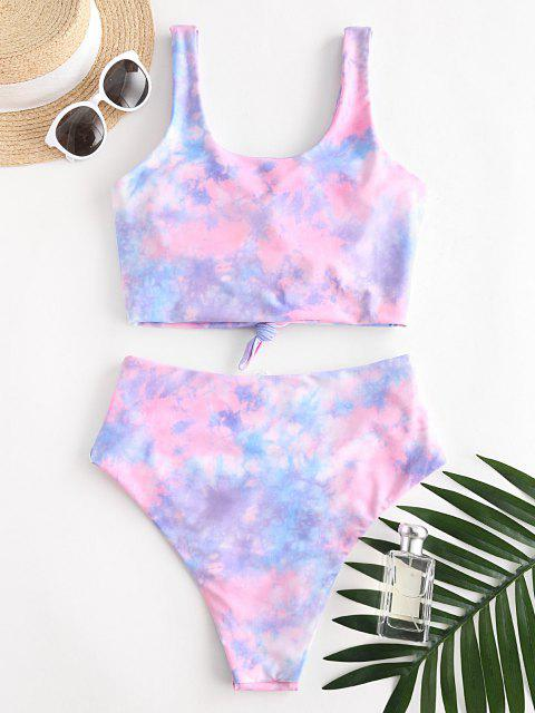 sale ZAFUL Knot Ruched Rainbow Tie Dye Tankini Swimsuit - LIGHT PINK M Mobile