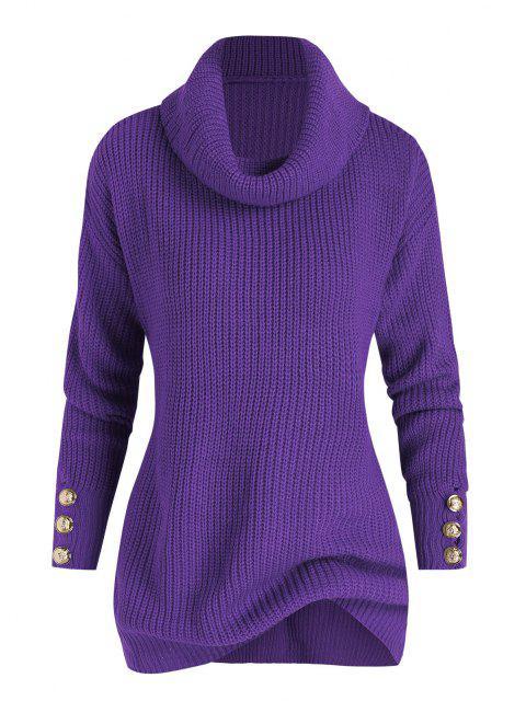 Plus Size Drop Shoulder Turtleneck Sweater - Lila L Mobile