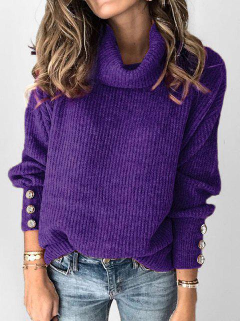 outfits Plus Size Drop Shoulder Turtleneck Sweater - PURPLE L Mobile