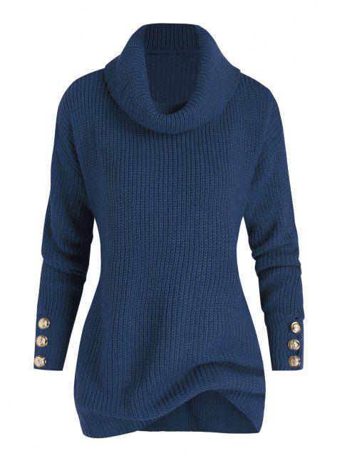 Plus Size Drop Shoulder Turtleneck Sweater - Blau 1X Mobile