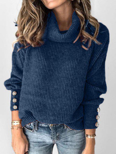 women's Plus Size Drop Shoulder Turtleneck Sweater - BLUE 2X Mobile