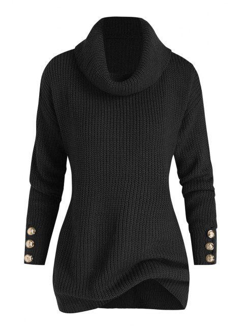 new Plus Size Drop Shoulder Turtleneck Sweater - BLACK 1X Mobile