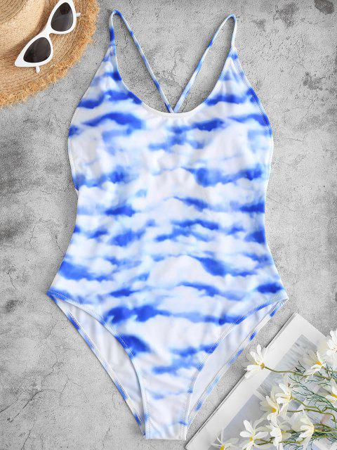 women's ZAFUL Sky and Cloud Print Crisscross One-piece Swimsuit - LIGHT BLUE M Mobile