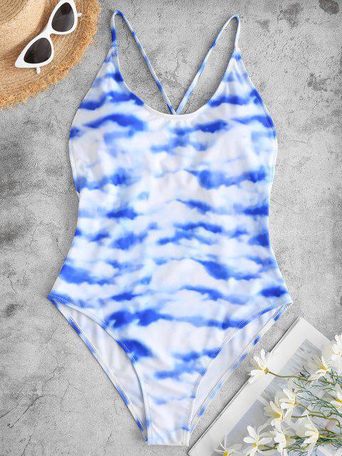 lady ZAFUL Sky and Cloud Print Crisscross One-piece Swimsuit - LIGHT BLUE XL Mobile