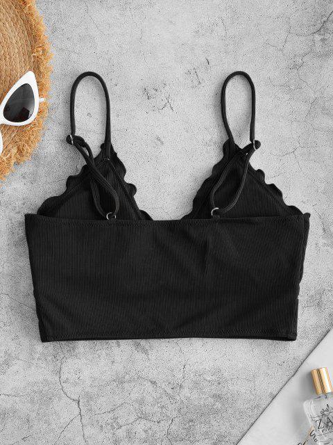 ZAFUL Haut de Bikini Court Côtelé à Ourlet en Laitue - Noir L Mobile