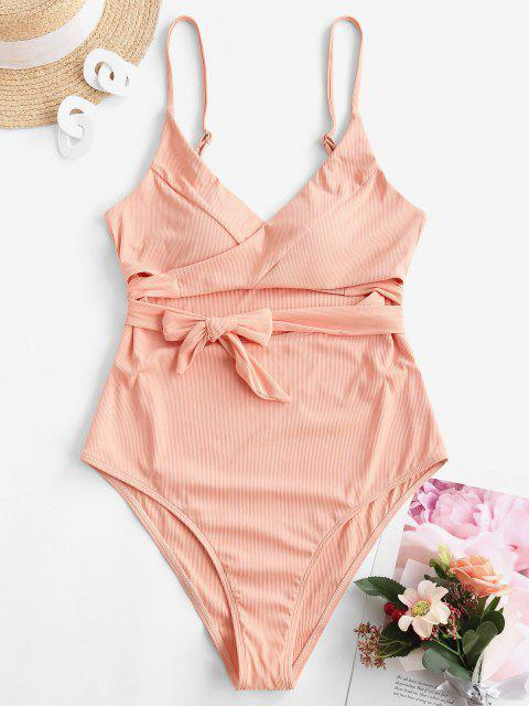 hot ZAFUL Ribbed Cutout Wrap One-piece Swimsuit - DEEP PEACH M Mobile