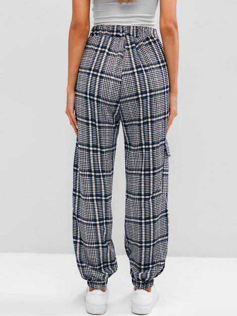 lady High Waist Plaid Jogger Pants - BLUE S Mobile