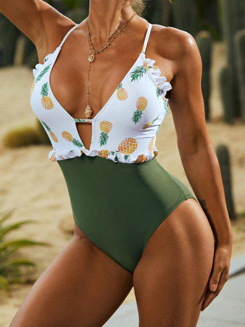 fashion ZAFUL Lace-up Frilled Pineapple One-piece Swimsuit - DEEP GREEN S Mobile