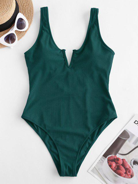 sale ZAFUL V-notch Ribbed Low Back One-piece Swimsuit - DEEP GREEN XL Mobile