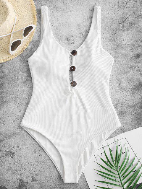 lady ZAFUL Ribbed Button Loop Front One-piece Swimsuit - WHITE S Mobile