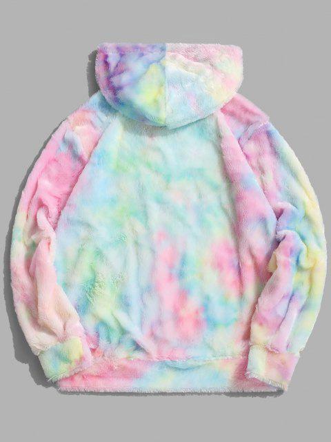 shop Tie Dye Faux Fur Ring Half Zipper Hoodie - MULTI 2XL Mobile