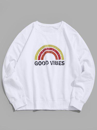 Rainbow Graphic Lounge Crew Neck Sweatshirt - White Xs