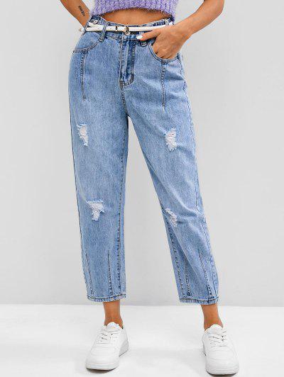 Jeans Ajustados Cintura Alta - Azul 2xl