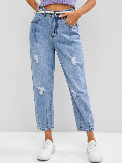 Distressed High Waisted Ninth Tapered Jeans - Blue M