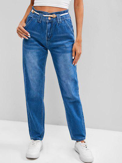 Two Buttoned High Waisted Tapered Jeans - Blueberry Blue S