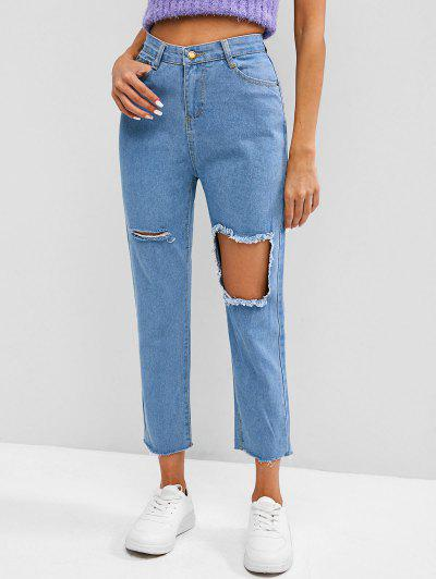 Destroyed Frayed High Waisted Tapered Jeans - Light Blue L