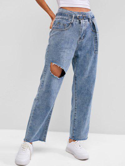 Buckle Belted Destroyed Frayed Paperbag Jeans - Light Blue M