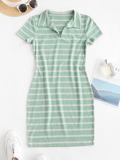 Casual Ribbed Stripes Bodycon Dress - Green M