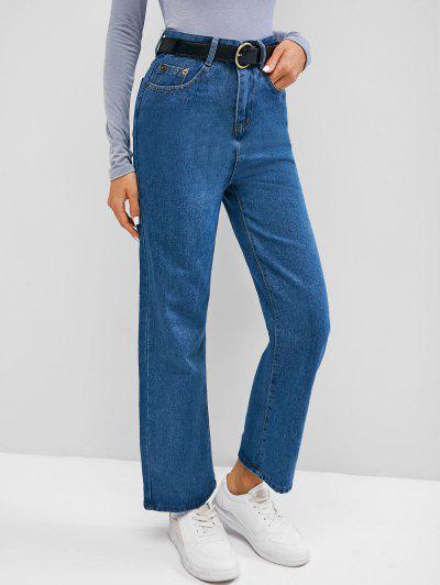 Plain High Waisted Wide Leg Jeans - Blueberry Blue M