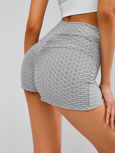 Textured Overlap Waist Ruched Bum Gym Shorts - Gray M