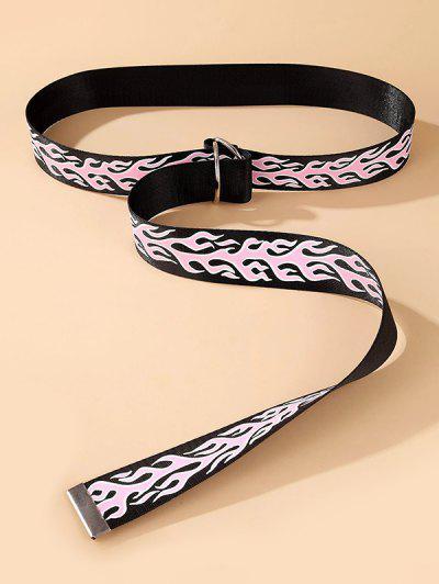 Flame Print Rings Buckle Canvas Belt - Black