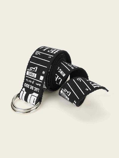 Graphic Pattern Buckle Canvas Belt - Black