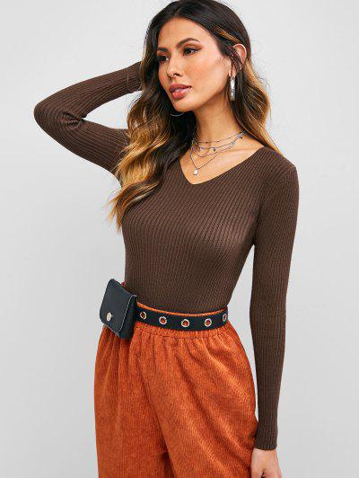 Solid Color V Neck Ribbed Knitwear - Deep Coffee